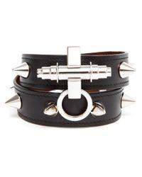 Givenchy - Black Studded Leather Bracelet - Lyst