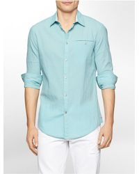 Calvin Klein - Blue Jeans Slim Fit Seersucker Mini Check Shirt for Men - Lyst