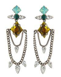 DANNIJO - Green Nadia Crystal Chain Earrings - Lyst