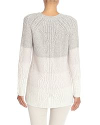 NIC+ZOE - Gray Weaved Ombre Cable-knit Raglan Sweater - Lyst