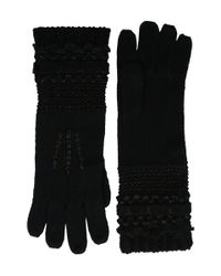 Lauren by Ralph Lauren | Black Multi Texture Glove | Lyst