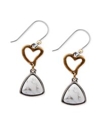 Lucky Brand - Metallic Twotone Heart And Stone Drop Earrings - Lyst