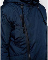 ASOS | Blue Asymmetric Parka In Navy for Men | Lyst