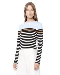 Alexander Wang | Blue Engineered Stripe Long Sleeve Tee | Lyst