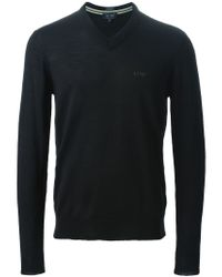 Armani Jeans - Black V-neck Sweater for Men - Lyst