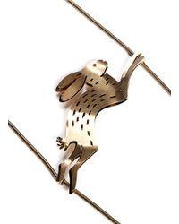 Lanvin | Metallic Rabbit Charm Snake Chain Necklace | Lyst