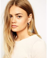ASOS | Metallic Faux Pearl Through Earrings | Lyst