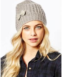 Oasis - Gray Embellished Bow Hat - Lyst