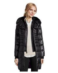 T Tahari - Black 'paula' Knit Collar Hooded Ruched Side Coat - Lyst