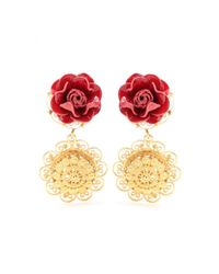 Dolce & Gabbana | Red Embellished Clip-On Earrings | Lyst