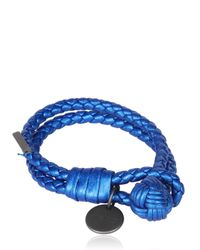 Bottega Veneta - Blue Double Intreccio Metallic Deer Bracelet - Lyst