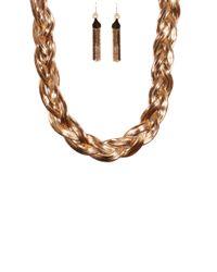AKIRA - Metallic Braided Snake Chain Necklace W/ Snake Chain Earring Set - Lyst