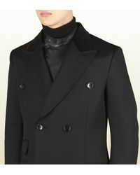 Gucci | Black Wool Equestrian Coat for Men | Lyst