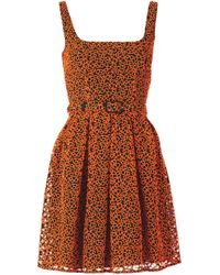 Christopher Kane | Orange Floral Broderie Princess Dress | Lyst