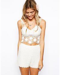 ASOS - White Crochet Shorts - Lyst