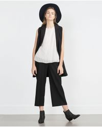 Zara | Natural Pleated Top | Lyst