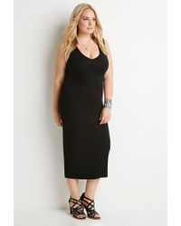 Forever 21 - Black Plus Size V-neck Midi Dress - Lyst