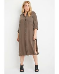 Forever 21 | Brown Plus Size Longline High-slit Tunic | Lyst