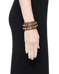 Valentino - Brown 'rockstud' Double Wrap Leather Bracelet - Lyst