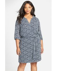 Caslon | Blue Print Split Neck Tie Waist Dress | Lyst