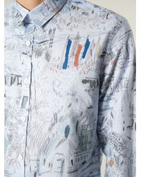 Paul Smith | Blue Sketch Print Shirt for Men | Lyst