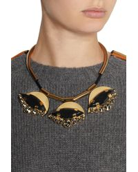 Marni - Black Gold-Tone, Horn And Leather Necklace - Lyst