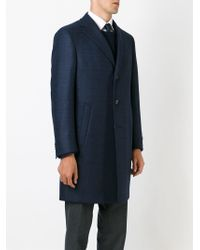 Canali - Blue Classic Single Breasted Coat for Men - Lyst