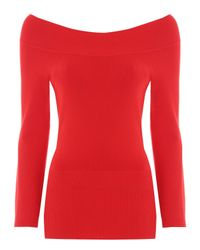 Jane Norman | Red 3/4 Sleeve Bardot Jumper | Lyst