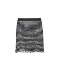 Tory Burch - Black Raffia & Leather Skirt - Lyst