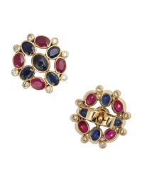 Amrapali - Red Ruby, Sapphire And Diamond Stud Earrings - Lyst