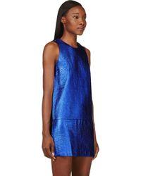 3.1 Phillip Lim - Metallic Blue And Black Leather Shift Dress - Lyst