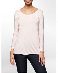 Calvin Klein - Pink Jeans Lace Detail Dolman 3/4 Sleeve Top - Lyst