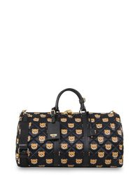 Moschino - Black Bear Print Quilted Weekend Bag - Lyst