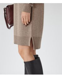 Reiss - Brown Gilmore Roll-neck Jumper Dress - Lyst