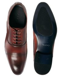 ALDO | Brown Sagona Leather Derby Shoes for Men | Lyst