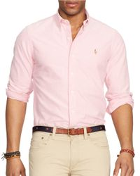 Polo Ralph Lauren | Pink Solid Oxford Sportshirt for Men | Lyst