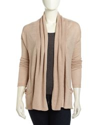 Neiman Marcus | Natural Two-Pocket Open-Front Linen Cardigan | Lyst