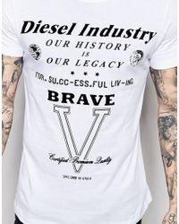 DIESEL - T-shirt Cl-t-fracas Crewneck Flock Logo Print In White for Men - Lyst