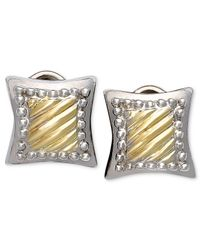 Macy's | Metallic 14k Gold And Sterling Silver Earrings, Square Cable | Lyst