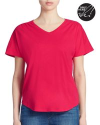 Lord & Taylor | Pink Plus Shirred V Neck Tee | Lyst