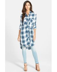 Rails - Blue 'Nadine' Plaid Tunic Dress With Tie Belt - Lyst