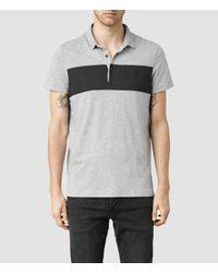 AllSaints - Gray Riordan Polo for Men - Lyst