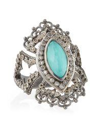 Armenta - Metallic New World Scalloped Green Turquoise & Diamond Ring - Lyst