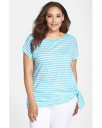 MICHAEL Michael Kors | Blue Stripe Side Tie Cotton Top | Lyst