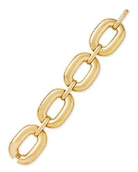 Roberto Coin | Metallic Bold Yellow Gold Large-link Bracelet With Diamond Clasp | Lyst