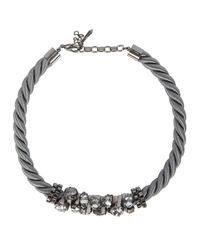 John & Pearl | Gray Atom Grey Rope Swarovski Necklace | Lyst