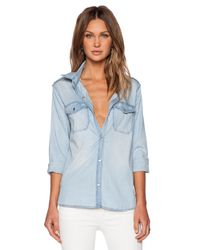Black Orchid - Blue Boyfriend Military Shirt - Lyst