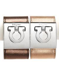 Ferragamo - Metallic Leather Gancini Cuff - Lyst
