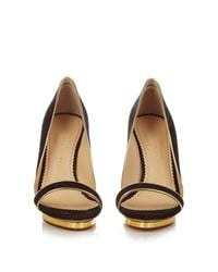 Charlotte Olympia | Black Christine Piped Suede Sandals | Lyst