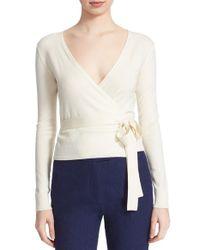 Diane von Furstenberg - White 'ballerina' Wrap Sweater - Lyst